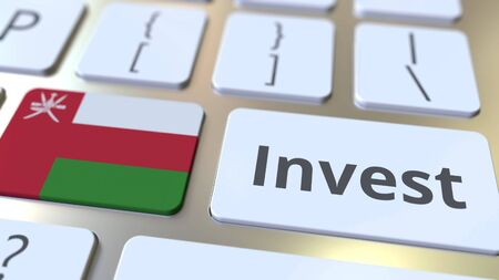 INVEST text and flag of Oman on the buttons on the computer keyboard. Business related conceptual 3D rendering Imagens