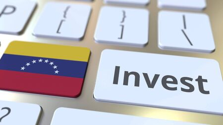 INVEST text and flag of Venezuela on the buttons on the computer keyboard. Business related conceptual 3D rendering