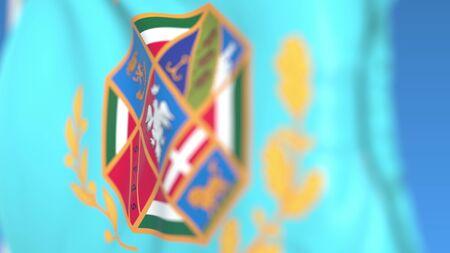 Flying flag of Lazio, a region of Italy. Close-up, 3D rendering Reklamní fotografie