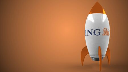 Logo of ING on a toy rocket. Editorial conceptual success related 3D rendering