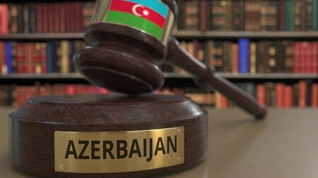 Flag of Azerbaijan on falling judges gavel in court. National justice or jurisdiction related conceptual 3D rendering