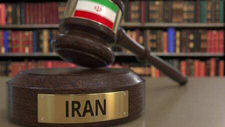 Flag of Iran on falling judges gavel in court. National justice or jurisdiction related conceptual 3D rendering