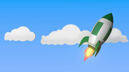 Flag of Nigeria on rocket flying high in the sky. Nigerian success or space program related 3D rendering