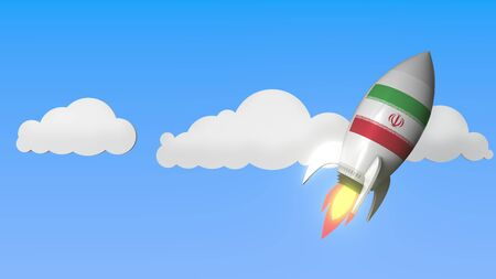 Flag of Iran on rocket flying high in the sky. Iranian success or space program related 3D rendering