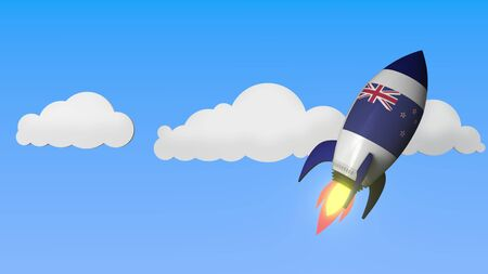 Rocket with flag of New Zealand flies in the sky. National success or space program related 3D rendering