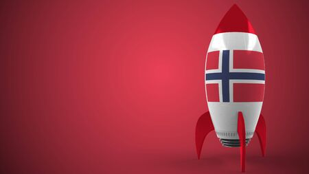 Flag of Norway on toy rocket. Norwegian hitech or space program related conceptual 3D rendering Stock Photo