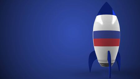 Rocket with flag of Russia. Russian hitech or space program related conceptual 3D rendering