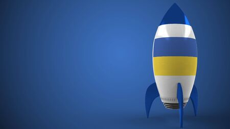 Rocket with flag of Ukraine. Ukrainian hitech or space program related conceptual 3D rendering