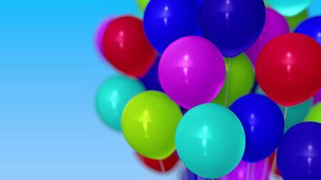 Many helium balloons against blue sky. 3D rendering Stockfoto