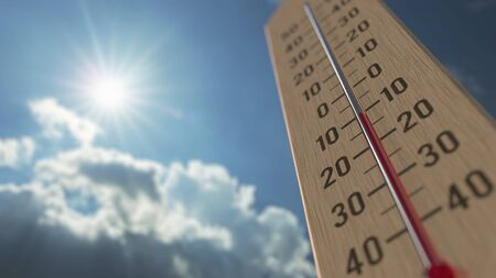 Outdoor thermometer reaches minus 10 ten degrees centigrade. Weather forecast related 3D rendering