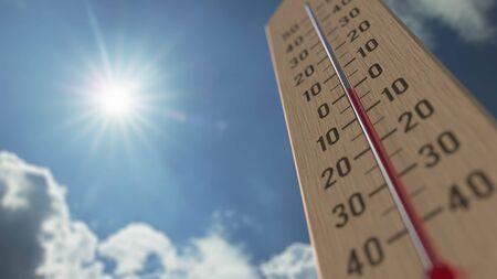 Außenthermometer erreicht Null. Wettervorhersage bezogenes 3D-Rendering