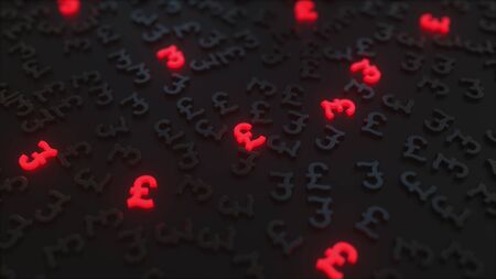 Glowing red british pound sterling signs among black GBP symbols. Conceptual 3D rendering
