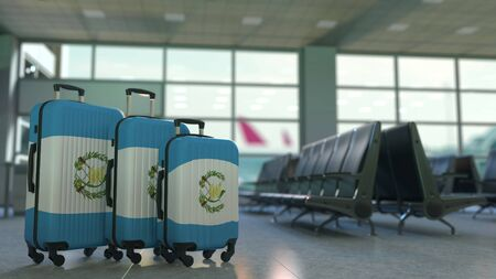 Travel suitcases with flag of Guatemala. Guatemalan tourism conceptual 3D rendering