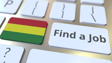 FIND A JOB text and flag of Bolivia on the buttons on the computer keyboard. Employment related conceptual 3D rendering