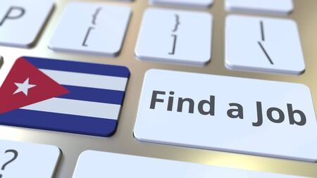 FIND A JOB text and flag of Cuba on the buttons on the computer keyboard. Employment related conceptual 3D rendering