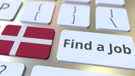 FIND A JOB text and flag of Denmark on the buttons on the computer keyboard. Employment related conceptual 3D rendering