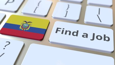 FIND A JOB text and flag of Ecuador on the buttons on the computer keyboard. Employment related conceptual 3D rendering Фото со стока