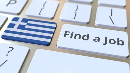 FIND A JOB text and flag of Greece on the buttons on the computer keyboard. Employment related conceptual 3D rendering