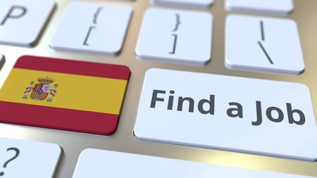 FIND A JOB text and flag of Spain on the buttons on the computer keyboard. Employment related conceptual 3D rendering