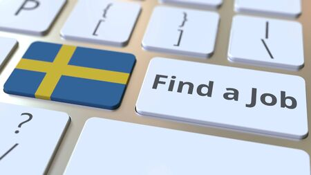 FIND A JOB text and flag of Sweden on the buttons on the computer keyboard. Employment related conceptual 3D rendering