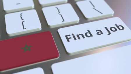 FIND A JOB text and flag of Morocco on the buttons on the computer keyboard. Employment related conceptual 3D rendering