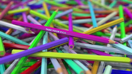 Pencil with TAKE YOUR PICK text emphasised on big pile of color pencils. 3D rendering Imagens
