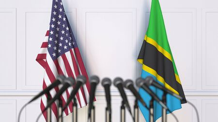 Flags of the USA and Tanzania at international meeting or conference. 3D rendering Stock Photo