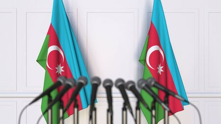 Azerbaijani official press conference. Flags of Azerbaijan and microphones. Conceptual 3D rendering Banque d'images - 128901112