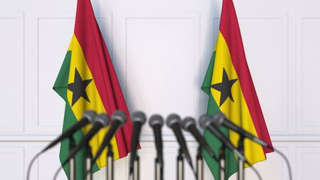 Ghanaian official press conference. Flags of Ghana and microphones. Conceptual 3D rendering Banque d'images - 128901122