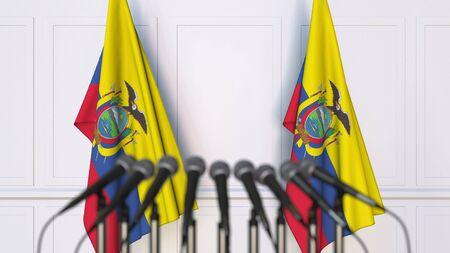 Ecuadorian official press conference. Flags of Ecuador and microphones. Conceptual 3D rendering Banque d'images - 128901128