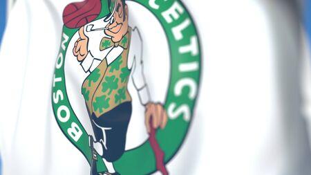 Waving flag with Boston Celtics team logo, close-up. Editorial 3D rendering