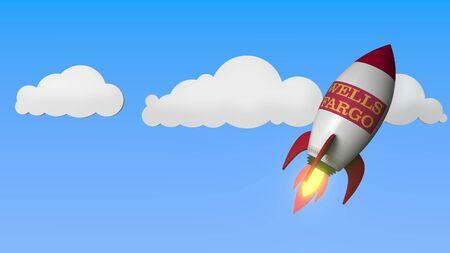 WELLS FARGO logo against a rocket mockup. Editorial success related 3D rendering