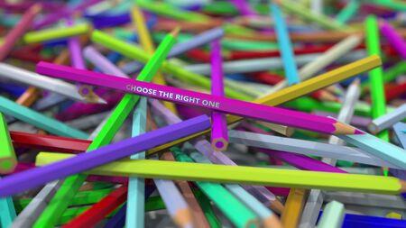 Big pile of color pencils 3D