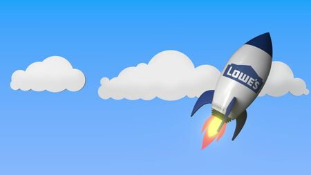 Logo of LOWES on a flying rocket. Editorial success related 3D rendering