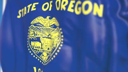 Waving flag of Oregon. 3D 写真素材