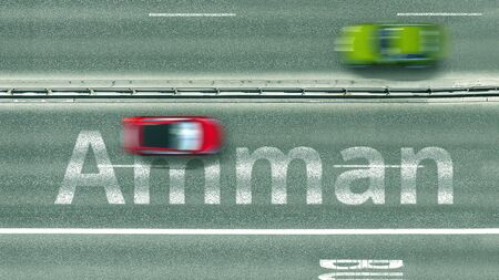 Aerial top down view of the road with cars revealing Amman caption. Car travel in Jordan 3D rendering