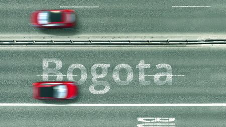 Top down view of the highway with revealing Bogota text. Driving in Colombia 3D rendering