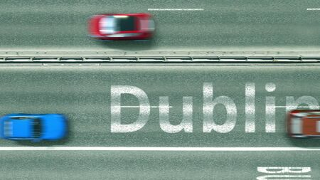 Overhead view of the busy car road with Dublin text. Travel to Ireland 3D rendering Stockfoto