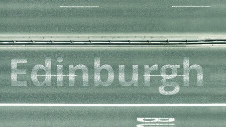 Overhead view of the busy car road with Edinburgh text. Travel to the United Kingdom 3D rendering