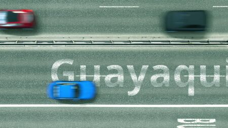 Aerial down view of the motorway with cars revealing Guayaquil caption. Car travel to Ecuador 3D rendering Stock Photo
