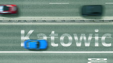 Top down view of the highway with revealing Katowice text. Driving in Poland 3D rendering Zdjęcie Seryjne