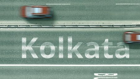 Aerial top-down view of the road. Cars reveal Kolkata text. Travel to India 3D rendering Stock Photo