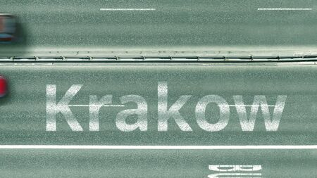 Overhead view of the busy car road with Krakow text. Travel to Poland 3D rendering
