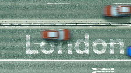 Top down view of the highway with revealing London text. Driving to the United Kingdom 3D rendering