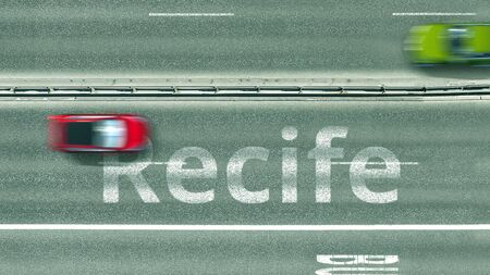Aerial down view of the motorway with cars revealing Recife caption. Car travel to Brazil 3D rendering