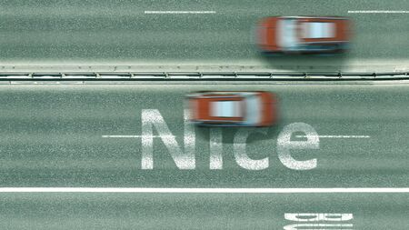 Aerial down view of the motorway with cars revealing Nice caption. Car travel to France 3D rendering Reklamní fotografie
