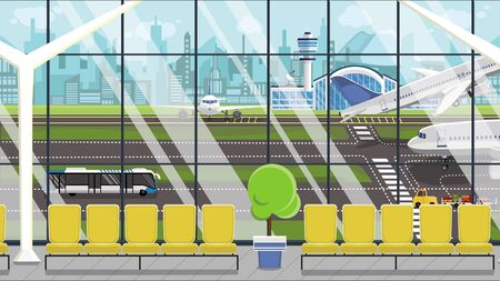 Modern generic airport, airfield view illustration