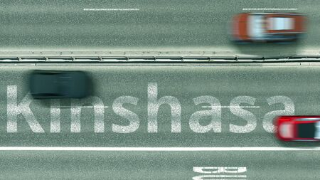 Aerial top down view of the highway with revealing text. Car travel