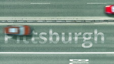 Top down view of the highway with revealing Pittsburgh text. Driving in the United States 3D rendering Фото со стока
