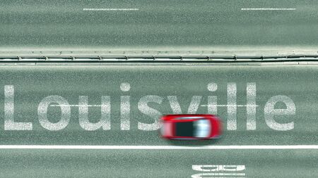 Aerial top down view of the road with cars and Louisville caption. Car travel in the United States conceptual 3D rendering